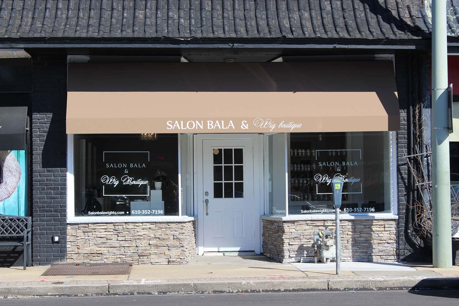 Decoration design of Salon Bala & Wig Boutique storefront.